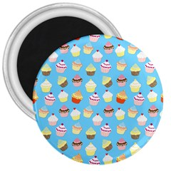 Pale Pastel Blue Cup Cakes 3  Magnets