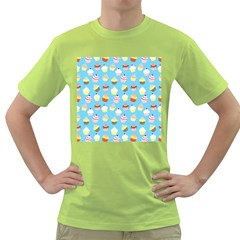 Pale Pastel Blue Cup Cakes Green T Shirt