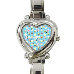 Pale Pastel Blue Cup Cakes Heart Italian Charm Watch