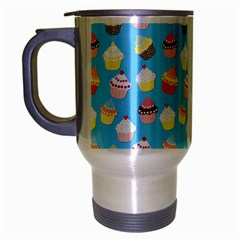 Pale Pastel Blue Cup Cakes Travel Mug (silver Gray)