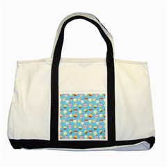 Pale Pastel Blue Cup Cakes Two Tone Tote Bag