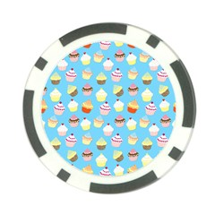 Pale Pastel Blue Cup Cakes Poker Chip Card Guard