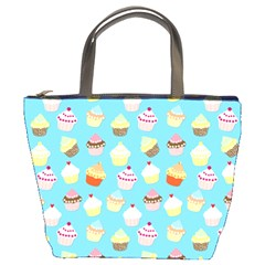 Pale Pastel Blue Cup Cakes Bucket Bags