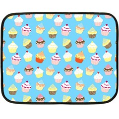 Pale Pastel Blue Cup Cakes Double Sided Fleece Blanket (mini)