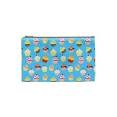 Pale Pastel Blue Cup Cakes Cosmetic Bag (small)