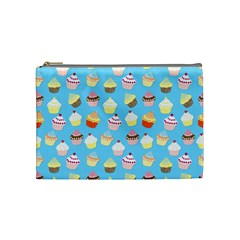 Pale Pastel Blue Cup Cakes Cosmetic Bag (medium)