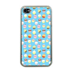 Pale Pastel Blue Cup Cakes Apple Iphone 4 Case (clear)