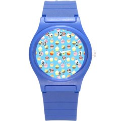 Pale Pastel Blue Cup Cakes Round Plastic Sport Watch (s)