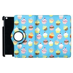 Pale Pastel Blue Cup Cakes Apple Ipad 3/4 Flip 360 Case