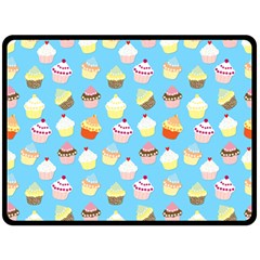 Pale Pastel Blue Cup Cakes Double Sided Fleece Blanket (large)
