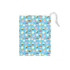 Pale Pastel Blue Cup Cakes Drawstring Pouches (small)