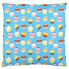 Pale Pastel Blue Cup Cakes Large Flano Cushion Case (two Sides)