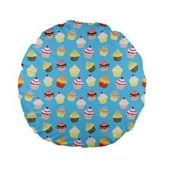 Pale Pastel Blue Cup Cakes Standard 15  Premium Flano Round Cushions