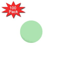 Classic Mint Green & White Herringbone Pattern 1  Mini Buttons (100 Pack)