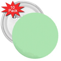 Classic Mint Green & White Herringbone Pattern 3  Buttons (10 Pack)
