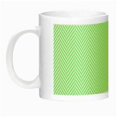 Classic Mint Green & White Herringbone Pattern Night Luminous Mugs