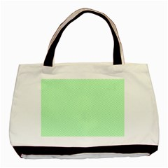 Classic Mint Green & White Herringbone Pattern Basic Tote Bag