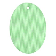 Classic Mint Green & White Herringbone Pattern Oval Ornament (two Sides)