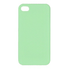 Classic Mint Green & White Herringbone Pattern Apple Iphone 4/4s Hardshell Case