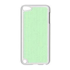 Classic Mint Green & White Herringbone Pattern Apple Ipod Touch 5 Case (white)