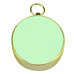 Classic Mint Green & White Herringbone Pattern Gold Compasses
