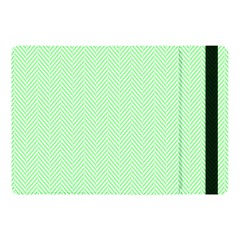 Classic Mint Green & White Herringbone Pattern Apple Ipad Pro 10 5   Flip Case
