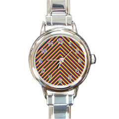 Gay Pride Flag Rainbow Chevron Stripe Round Italian Charm Watch