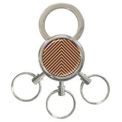 Gay Pride Flag Rainbow Chevron Stripe 3 Ring Key Chains