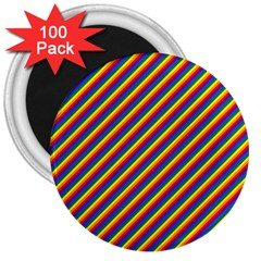 Gay Pride Flag Candy Cane Diagonal Stripe 3  Magnets (100 Pack)