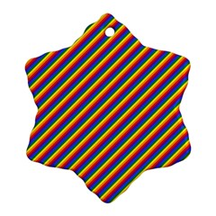 Gay Pride Flag Candy Cane Diagonal Stripe Snowflake Ornament (two Sides)