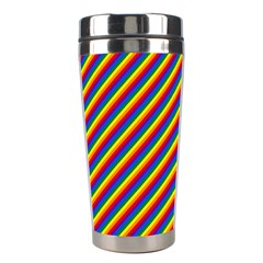 Gay Pride Flag Candy Cane Diagonal Stripe Stainless Steel Travel Tumblers