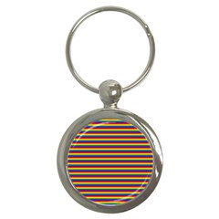 Horizontal Gay Pride Rainbow Flag Pin Stripes Key Chains (round)