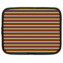 Horizontal Gay Pride Rainbow Flag Pin Stripes Netbook Case (large)