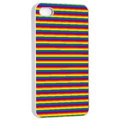 Horizontal Gay Pride Rainbow Flag Pin Stripes Apple Iphone 4/4s Seamless Case (white)