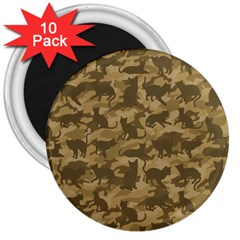 Operation Desert Cat Camouflage Catmouflage 3  Magnets (10 Pack)