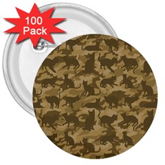 Operation Desert Cat Camouflage Catmouflage 3  Buttons (100 Pack)