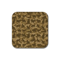 Operation Desert Cat Camouflage Catmouflage Rubber Square Coaster (4 Pack)