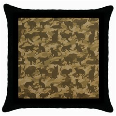 Operation Desert Cat Camouflage Catmouflage Throw Pillow Case (black)