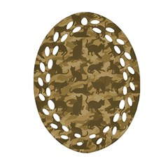 Operation Desert Cat Camouflage Catmouflage Ornament (oval Filigree)
