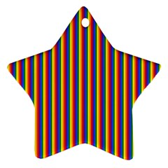 Vertical Gay Pride Rainbow Flag Pin Stripes Star Ornament (two Sides)