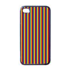 Vertical Gay Pride Rainbow Flag Pin Stripes Apple Iphone 4 Case (black)