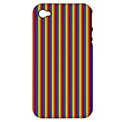 Vertical Gay Pride Rainbow Flag Pin Stripes Apple Iphone 4/4s Hardshell Case (pc+silicone)