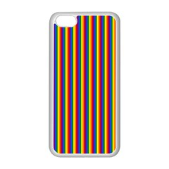 Vertical Gay Pride Rainbow Flag Pin Stripes Apple Iphone 5c Seamless Case (white)