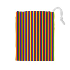 Vertical Gay Pride Rainbow Flag Pin Stripes Drawstring Pouches (large)