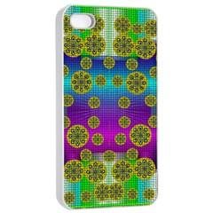 Celtic Mosaic With Wonderful Flowers Apple Iphone 4/4s Seamless Case (white)