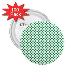 Green Shamrock Clover On White St  Patrick s Day 2 25  Buttons (100 Pack)
