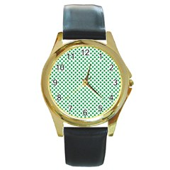 Green Shamrock Clover On White St  Patrick s Day Round Gold Metal Watch
