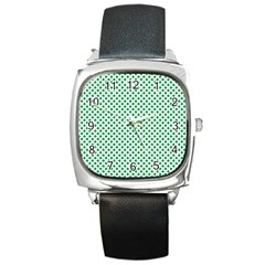 Green Shamrock Clover On White St  Patrick s Day Square Metal Watch
