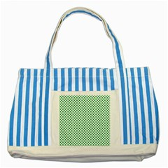 Green Shamrock Clover On White St  Patrick s Day Striped Blue Tote Bag