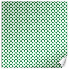 Green Shamrock Clover On White St  Patrick s Day Canvas 12  X 12
